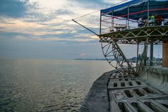 Abend auf der Küste der Berdyansk-Bucht Stockfoto