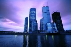 Abend auf Moskau-Fluss Stockbilder