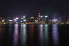 Abend bei Victoria Harbor stockbilder