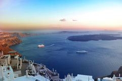 abend Das Meer um die Insel von Santorini, Italien Stockfotografie