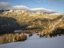 Abend in den Alpen Stockfoto