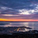 Abend in der Bucht von Triest stockbild