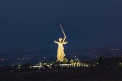 Abend in der Stadt von Wolgograd Die Heldstadt Lizenzfreie Stockfotos