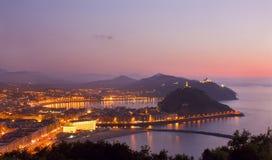 Abend in Donostia, San Sebastian, Gipuzkoa Lizenzfreie Stockfotos