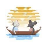 Abend in einem Boot lizenzfreie abbildung