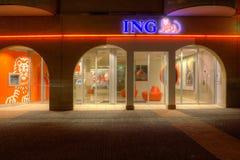 Abend geschossen von der Niederlassung von ING Stockbilder