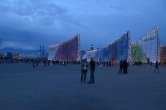 Abend im Olympiagelände in Sochi Stockfotografie