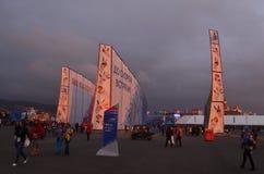 Abend im Olympiagelände in Sochi Lizenzfreies Stockfoto
