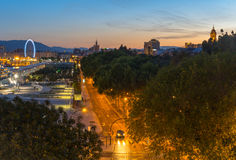 Abend in Màlaga, Spanien Stockbilder