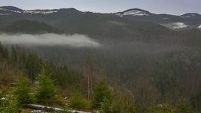 Abend-Nebel in den bewaldeten Bergen Geschossen auf Kennzeichen II Canons 5D mit Hauptl Linsen stock footage