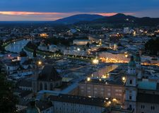 Abend in Salzburg Stockfotografie