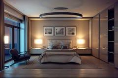 Abend-Schlafzimmerhaus der Wiedergabe 3D im Wald Stockfotos