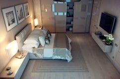 Abend-Schlafzimmerhaus der Wiedergabe 3D im Wald Lizenzfreie Stockfotografie