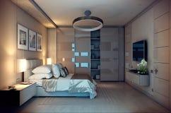 Abend-Schlafzimmerhaus der Wiedergabe 3D im Wald Stockfoto