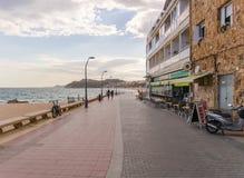 Abend-Seeseite in Lloret de Mar, Spanien Stockbild