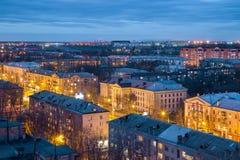 Abend Voronezh-Skyline von der Dachspitze Voronezh-Luftfahrt-technische Schule lizenzfreie stockfotografie