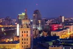 Abend Voronezh Turm des Managements der Südosteisenbahn mit dem Stern im Stil Stalin-` s Reiches Stockbilder