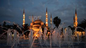 Abendansicht der blauen Moschee stock video footage