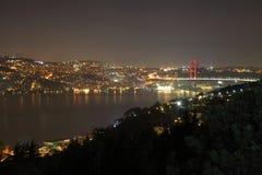 Abendansicht der Bosphorus-Brücke Die Küste des Bosphorus Fatih Sultan-Mehmet-Brücke Lizenzfreie Stockfotografie