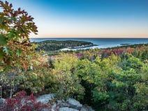 Abendansicht der Fall-farbigen Eiche verlässt vom Granit-Überhang, Bienenstock-Spur, Acadia-Nationalpark Stockfotografie