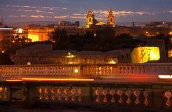 Abendansicht der Malta-Stadt Stockbild