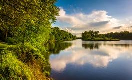 Abendansicht des Delaware Rivers bei Delaware Water Gap Nationa Lizenzfreies Stockbild