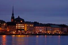 Abendansicht des Gamla Stan The Old Town in Stockholm Stockbilder