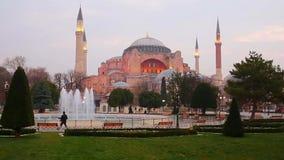 Abendansicht des Hagia Sophia in Istanbul, die Türkei stock video footage