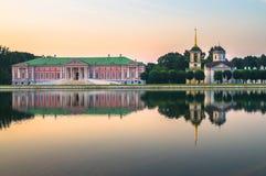 Abendansicht des Zustandsreservemuseums Kuskovo, ehemaliger Sommerlandzustand des 18. Jahrhunderts moskau Russland Stockbilder