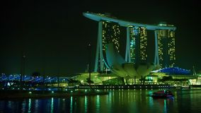 Abendansicht Marina Bay Sandss Lizenzfreies Stockbild