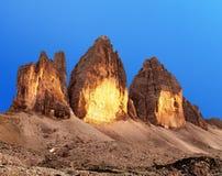 Abendansicht von Drei Zinnen oder von Tre Cime di Lavaredo Stockfoto