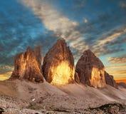 Abendansicht von Drei Zinnen oder von Tre Cime di Lavaredo Lizenzfreie Stockbilder