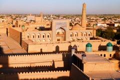 Abendansicht von Khiva - Usbekistan lizenzfreie stockfotos