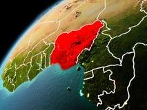 Abendansicht von Nigeria auf Erde Stockfotos