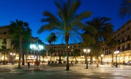 Abendansicht von Placa Reial in Barcelona Stockfotografie