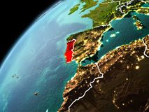 Abendansicht von Portugal auf Erde Lizenzfreies Stockfoto