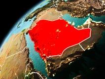Abendansicht von Saudi-Arabien auf Erde Lizenzfreie Stockfotos