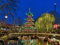Abendansicht von Tivoli-Gärten in Kopenhagen, Dänemark Lizenzfreies Stockbild