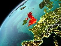 Abendansicht von Vereinigtem Königreich auf Erde Stockbilder