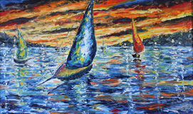 Abendboot löst, Sonnenuntergang über dem See, Ölgemälde aus Stockfotos