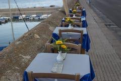 Abendessen auf Bucht zwischen Rivelino und Canneto in Gallipoli (Le) Lizenzfreies Stockfoto