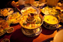 Abendessen bei Siem Reap, Kambodscha Stockfotografie