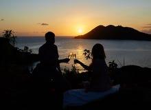 Abendessen bei Sonnenuntergang Stockfotos