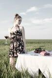 Abendessen der einsamen romantischen Frau Lizenzfreies Stockfoto