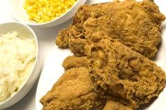 Abendessen des gebratenen Huhns Stockfotos