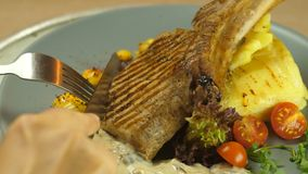 Abendessen im Restaurant, Rindfleisch auf dem Knochen mit Kartoffeltorte mit Pilzsoße, verzierte Salat, Kirschtomaten und stock video