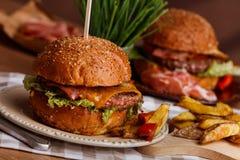 Abendessen mit Burger Lizenzfreies Stockfoto
