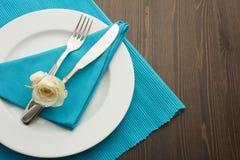 Abendessen mit Rose Lizenzfreie Stockbilder