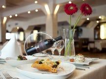 Abendessen mit Wein Stockbild