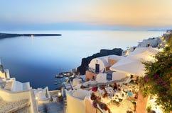 Abendessen in Santorini Stockfoto